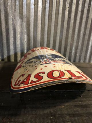 Antique American Porcelain Sign Visible Gas Pump Shell Gulf Station Curved Wayne