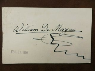 William De Morgan - English Potter - Tile Designer - Novelist - Autograph