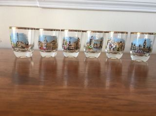 Gold Rimmed Shot Glasses From The U.  K.  Set Of 6 Antique Vintage