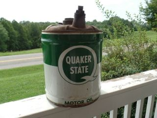 Antique Vintage 5 Gal Quaker State Oil Can With Wooden Bail Handler