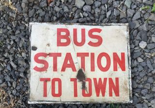 Vintage Antique 1930s Bus Station To Town Porcelain 2 Sided Road Sign