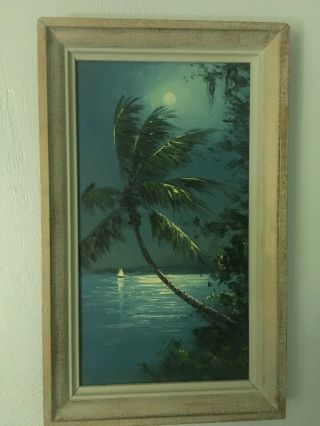 """Highwaymen Painting """"moonlight Sailboat"""" Oil On Upson Board The R.  A.  Mcclendon"""
