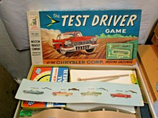 1956 Chrysler Test Driver Game W Dodge Desoto Plymouth Cars Mb Board Game - Nr