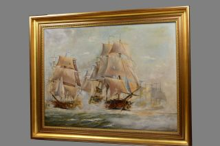 Russian Fleet Seizing Swedish Flagship Naval Battle Sailing Ships Oil 1920
