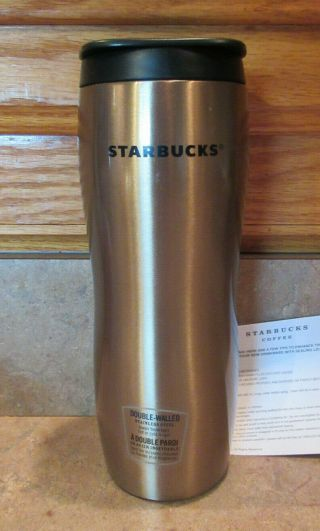 Starbucks Coffee Rare 2008 Gold Stainless Concord Tumbler 16 Oz.  Nwt Card