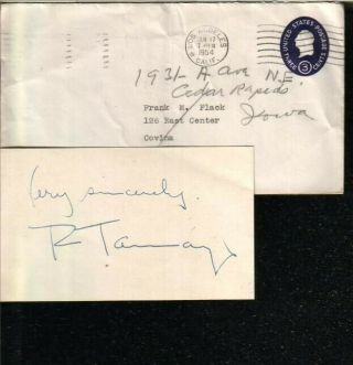 Rufino Tamayo Autographed Index Card 1954 Mexican Painter D.  91