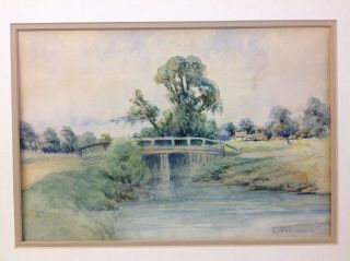 19th C Watercolor Landscape Painting Signed C.  Pissarro French Impressionist
