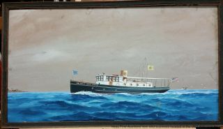 Joe Selby 30s Orig 27in African American Florida Al Steam Ship Portrait Painting