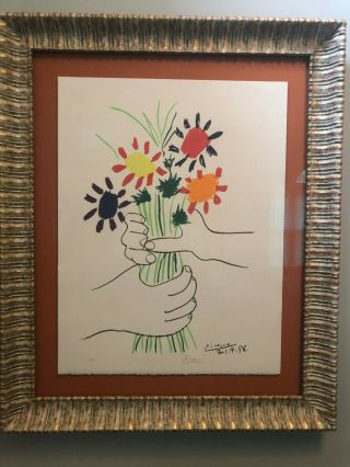 "Pablo Picasso "" Bouquet Of Flowers "" Painting.  Artist Pencil Signed.  Authentic"