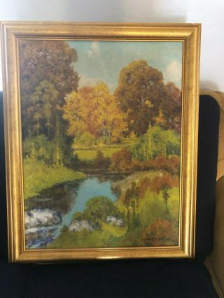 "Peter Lanz Hohnstedt 28 X 20 "" Pond "" Oil Painting 1920 - 1940"