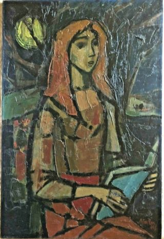 Irving Amen (1918 - 2011) Girl With Book Impasto Oil Painting Listed Signed