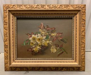 Antique American Victorian Still Life Flower Painting Of Daffodils Boston Label