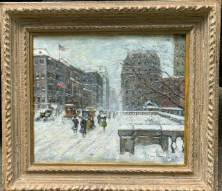 "Guy Wiggins; American Oil On Canvas "" Winters Day On The Avenue "" Signed"