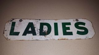 Vintage Double Sided Porcelain Ladies Restroom Sign Rare