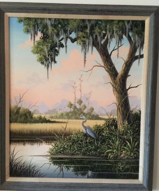 Ben Essenburg Florida Wildlife Artist Oil Painting 24x20 Dated 9 - 11 - 86