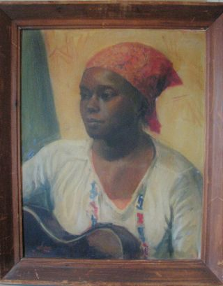 1941 African American Portrait Artist Signed Woman Playing Guitar