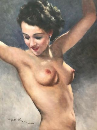 "Pal Fried Painting Oil On Canvas C1960 Framed 32 "" X38 "" Stunning Brunette"