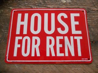 "Vintage Red / White "" House "" Realtor Metal Sign 10 "" X 7 """