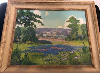 "Peter Lanz Hohnstedt "" Bluebonnets "" 16 X 20 Oil Painting 1920 - 1940"