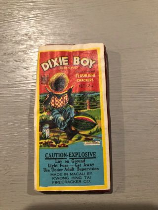 "Dixie Boy Firecracker Label ( ())  Dot 12/1.  5 "" Grade "" 8 "" / Cl5"