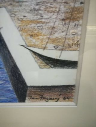 Jan Zrzavy / Czech 1934 painting COAST WITH BOATS,  with gallery receipt 2