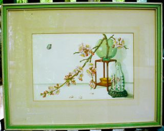 Vintage Laurence Perugini Watercolor Painting Artist Signed Still Life