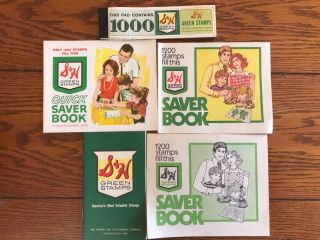 S&h Green Stamps Books (4) Different And One Pad Of 1000 Trading Stamps