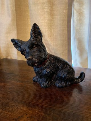 Vintage Syroco Wood Composition Scottie Terrier Figure Doorstop 10.  5 ""
