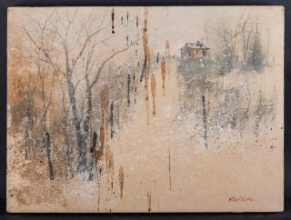 "American Artist Rex Fluty 1936 - 2009 Abstract Oil On Canvas "" Winter Scene """