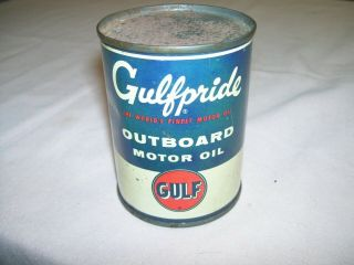 Old Vintage Gulf Gulfpride Outboard Motor Oil Can 8 Oz Graphics