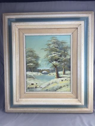 Brian Roche Signed Oil On Canvas Winter Scene Framed To Match The Painting