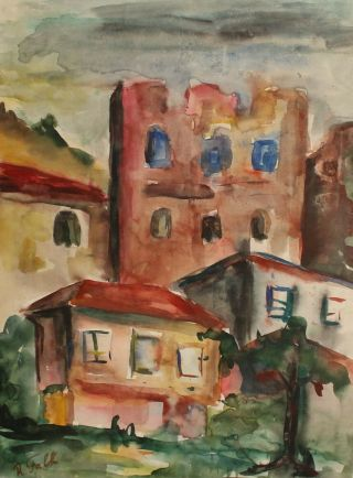 Vintage Russian Expressionist Watercolor Painting Cityscape Signed R.  Falk