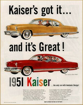 1950 A Kaiser Automobile Deluxe 4 Dr Club Coupe Print Ad In Store Volume