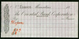 """"""" Rare """" 18_ Mauritus The Oriental Bank Corporation (1848?) Check Cheque"""