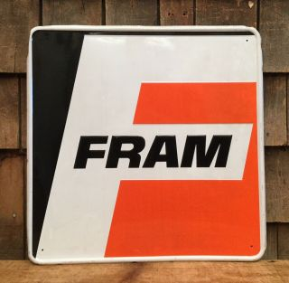 Vintage Fram Motor Oil Gas Service Station Dealer Garage Tin Embossed Sign 18x18