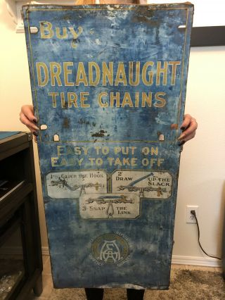 """Vintage 1920's Dreadnaught Tire Chains Metal Sign For Ford Model T 26"""" X 17"""""""