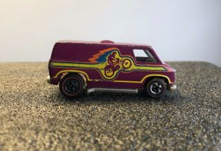 Vintage Hot Wheels Redline Van Plum Motorcycle Rider Motocross