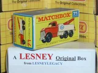 Matchbox Lesney 71c Ford Heavy Wreck Truck Model Type F Empty Box