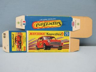 "Matchbox Superfast 29b Racing Mini ""g Box"" Unfolded C10 / Box Only"