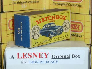 Matchbox Lesney 28c Jaguar Mark Ten Blue Type E1 Empty Box Only