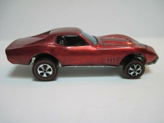 Vintage 1967 Redline Hot Wheels Red Custom Corvette Grey Interior Hong Kong