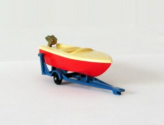Vintage Lesney Matchbox 48 Sports Boat & Trailer Regular Wheels Near 1961