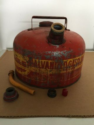 Vintage Eagle Red & Yellow Galvanized Steel Gas Can 2.  5 Gal.  Model 502
