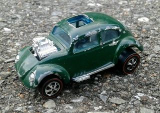 Hot Wheels Red Line Custom Volkswagen Vw Bug Beetle Hk Green Enamel Redline