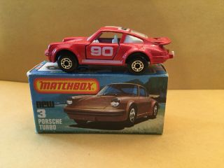 Matchbox Superfast No.  3 Porsche Turbo - Light Frosted Windows