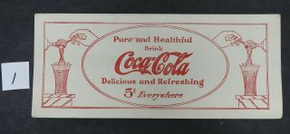 1913 Coca Cola Pure And Healthful Ink Blotter Antique Soda Fountain Advertising