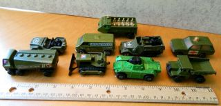 9 Vintage 1970s Hot Wheels Matchbox Diecast Toy Military Vehicles Cars