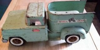 Vintage Green Tonka Farms Horse Carrying Toy Truck - Classic Toy Rolls Great