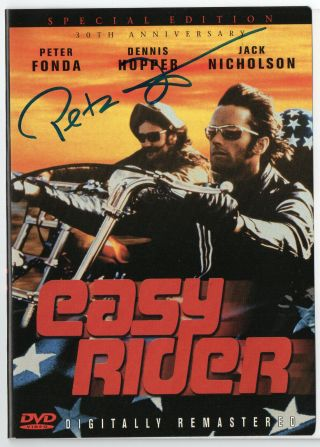 "Peter Fonda - Rare Autographed "" Easy Rider "" Dvd - Hand Signed On Cover By Fonda"