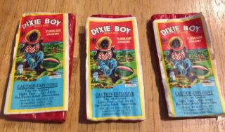 "3 Dixie Boy Firecracker Labels ( ())  12s / 1.  5 "" Flashlight Crackers"